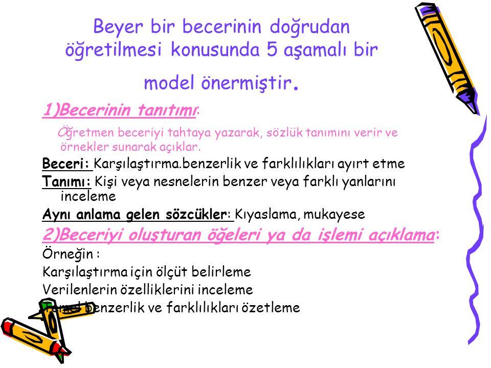 Beyer bir becerinin doğrudan öğretilmesi konusunda 5 aşamalı bir model önermiştir.