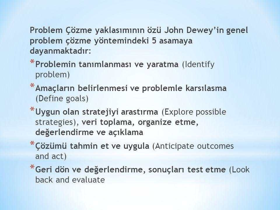 Problem Çözme yaklasımının özü John Dewey'in genel problem çözme yöntemindeki 5 asamaya dayanmaktadır: