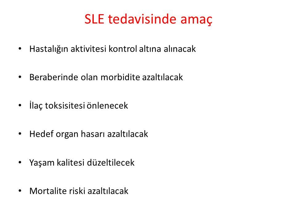 SLE tedavisinde amaç Hastalığın aktivitesi kontrol altına alınacak