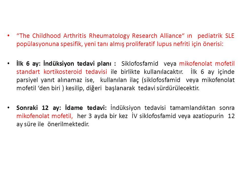 The Childhood Arthritis Rheumatology Research Alliance ın pediatrik SLE popülasyonuna spesifik, yeni tanı almış proliferatif lupus nefriti için önerisi: