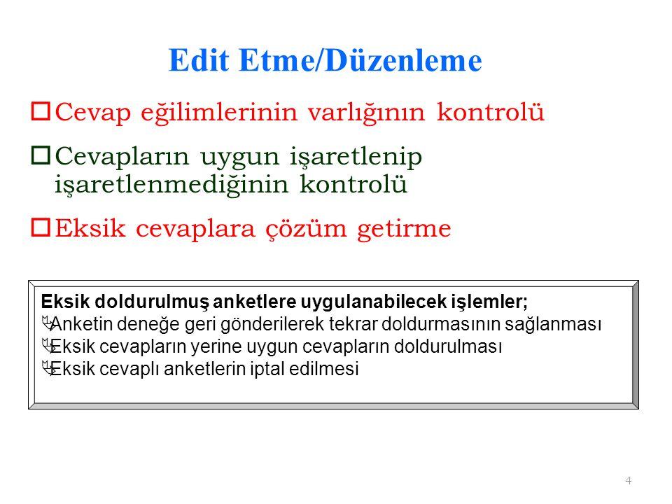 Edit Etme/Düzenleme Cevap eğilimlerinin varlığının kontrolü