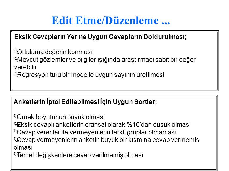 Edit Etme/Düzenleme ... Eksik Cevapların Yerine Uygun Cevapların Doldurulması; Ortalama değerin konması.