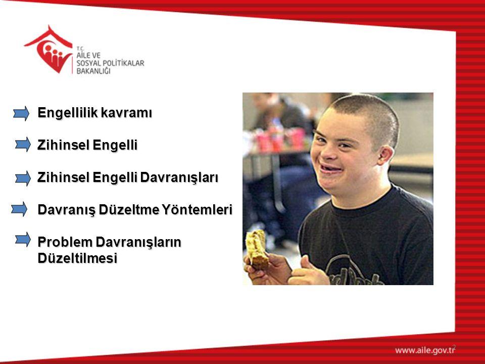 Engellilik kavramı Zihinsel Engelli. Zihinsel Engelli Davranışları. Davranış Düzeltme Yöntemleri.