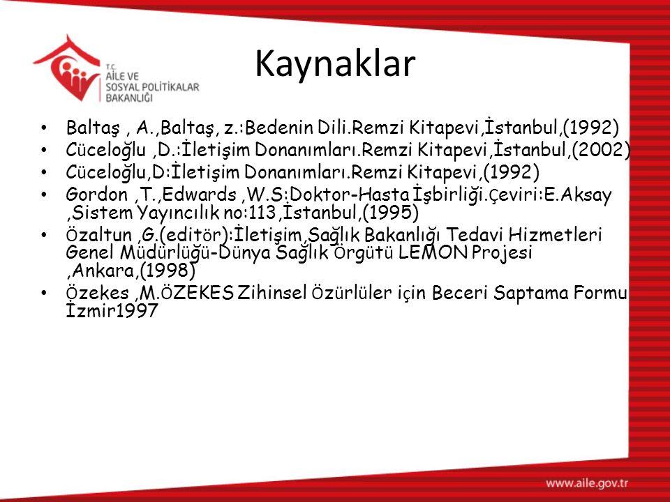 Kaynaklar Baltaş , A.,Baltaş, z.:Bedenin Dili.Remzi Kitapevi,İstanbul,(1992) Cüceloğlu ,D.:İletişim Donanımları.Remzi Kitapevi,İstanbul,(2002)