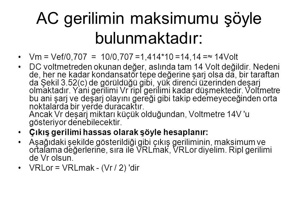 AC gerilimin maksimumu şöyle bulunmaktadır: