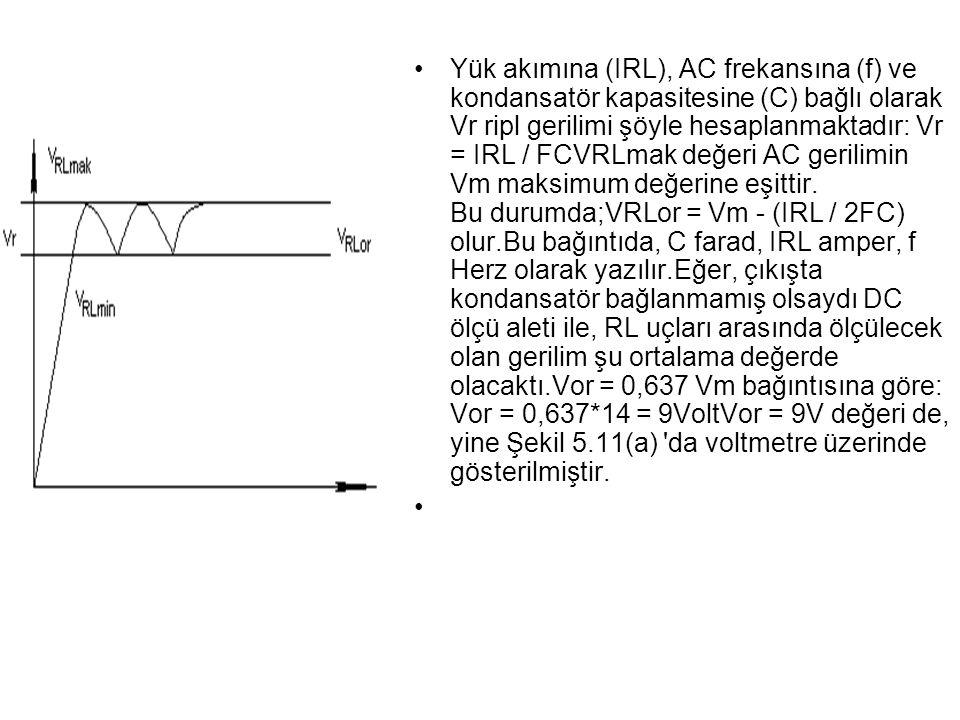 Yük akımına (IRL), AC frekansına (f) ve kondansatör kapasitesine (C) bağlı olarak Vr ripl gerilimi şöyle hesaplanmaktadır: Vr = IRL / FCVRLmak değeri AC gerilimin Vm maksimum değerine eşittir.