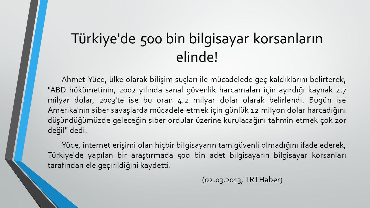 Türkiye de 500 bin bilgisayar korsanların elinde!