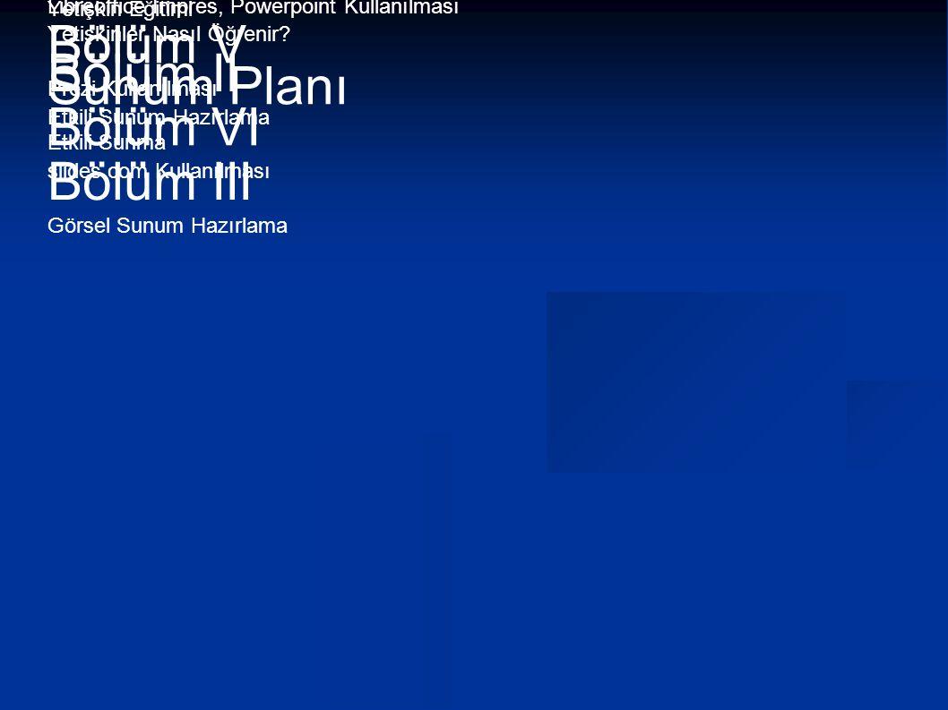 Bölüm IV Bölüm I Bölüm V Bölüm II Sunum Planı Bölüm VI Bölüm III
