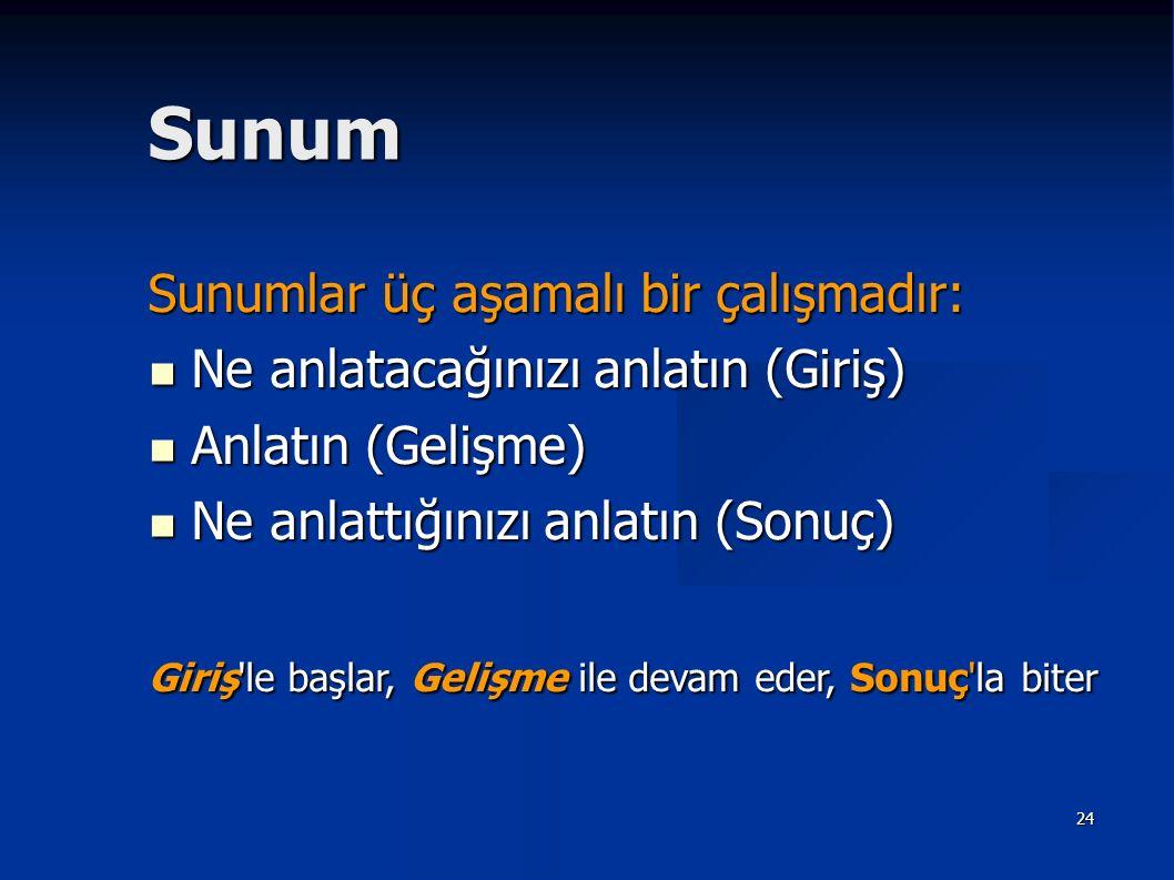 Sunum Sunumlar üç aşamalı bir çalışmadır: