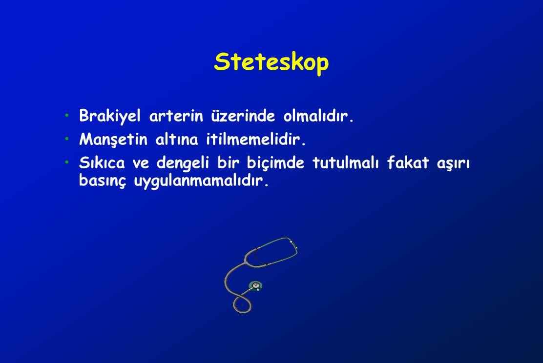 Steteskop Brakiyel arterin üzerinde olmalıdır.