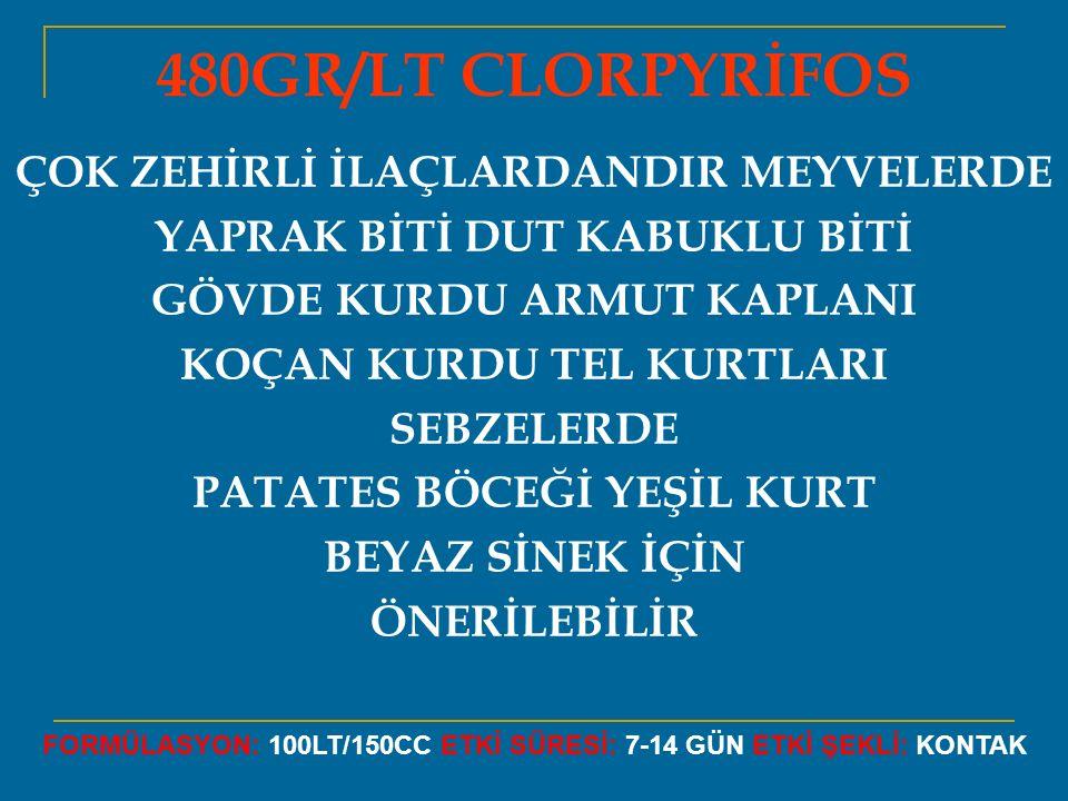 480GR/LT CLORPYRİFOS ÇOK ZEHİRLİ İLAÇLARDANDIR MEYVELERDE