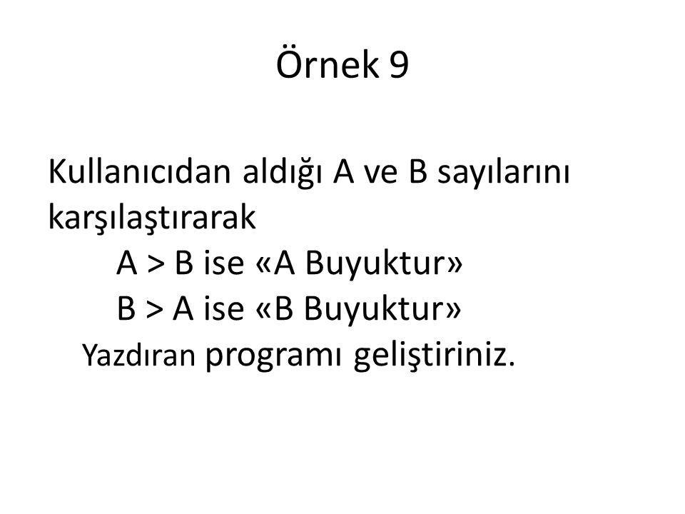 Örnek 9 Kullanıcıdan aldığı A ve B sayılarını karşılaştırarak