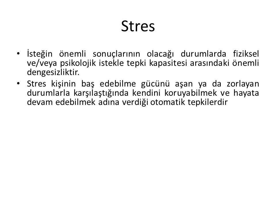 Stres İsteğin önemli sonuçlarının olacağı durumlarda fiziksel ve/veya psikolojik istekle tepki kapasitesi arasındaki önemli dengesizliktir.
