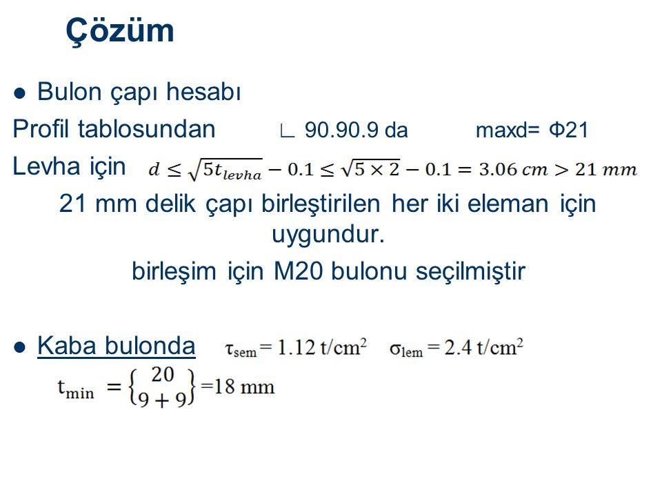 Çözüm Bulon çapı hesabı Profil tablosundan ∟ 90.90.9 da maxd= Ф21