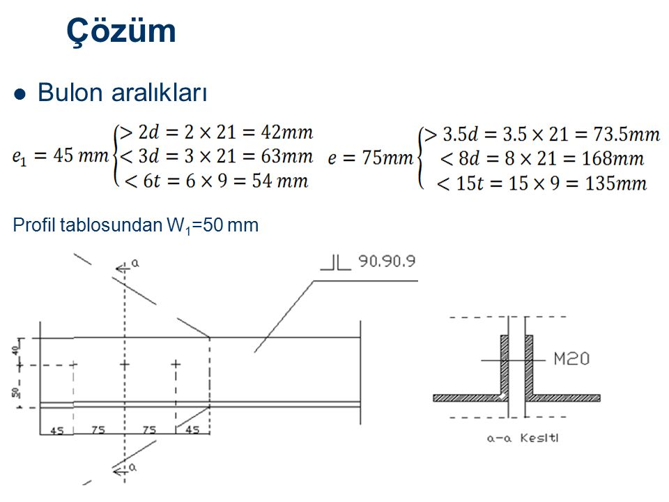 Çözüm Bulon aralıkları Profil tablosundan W1=50 mm