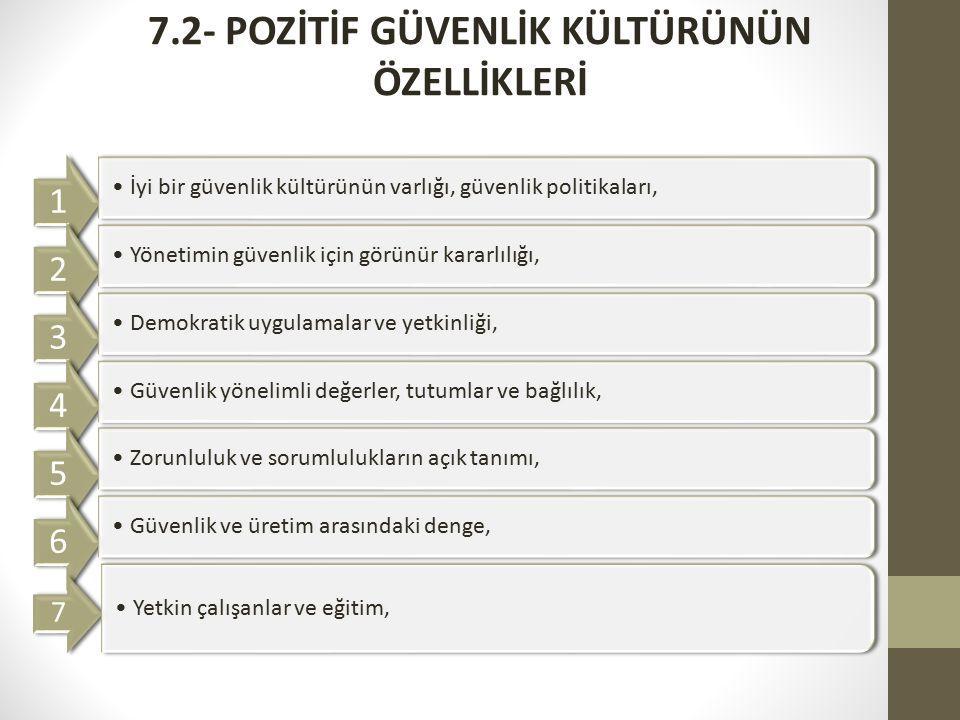 7.2- POZİTİF GÜVENLİK KÜLTÜRÜNÜN ÖZELLİKLERİ