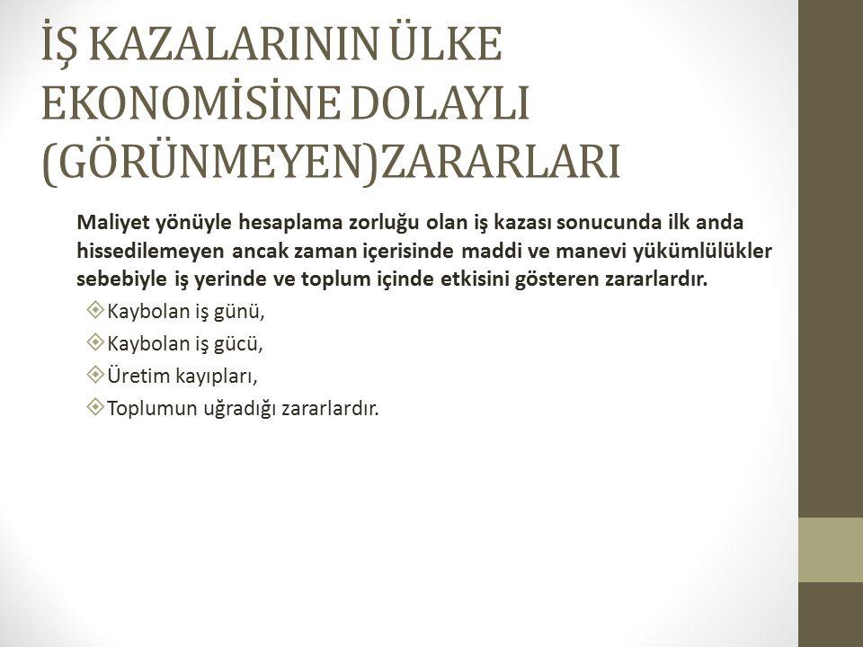 İŞ KAZALARININ ÜLKE EKONOMİSİNE DOLAYLI (GÖRÜNMEYEN)ZARARLARI