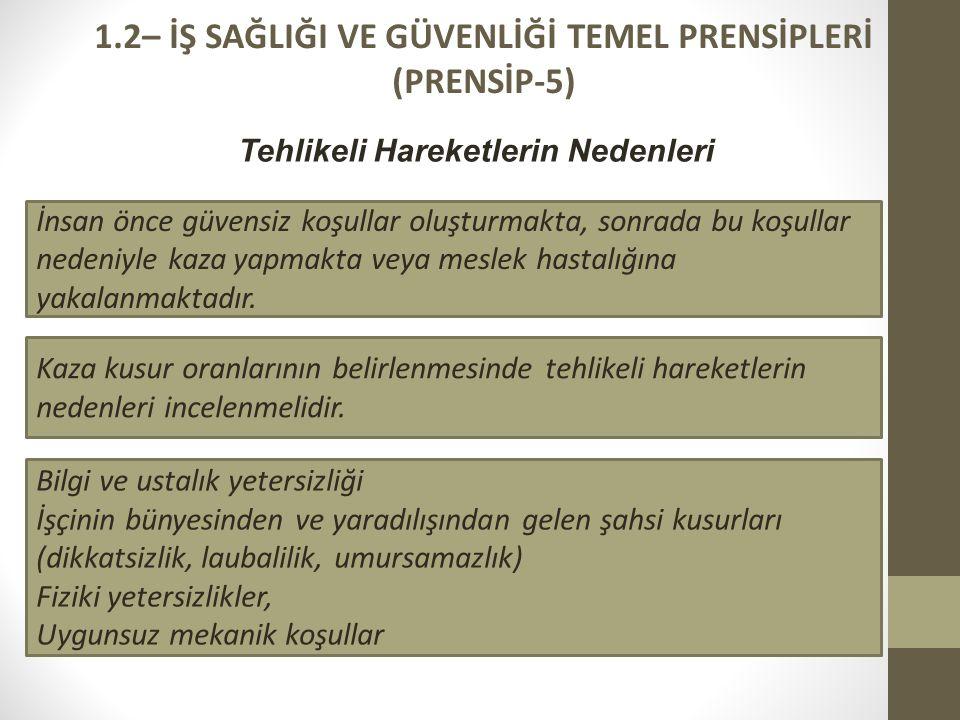 1.2– İŞ SAĞLIĞI VE GÜVENLİĞİ TEMEL PRENSİPLERİ (PRENSİP-5)