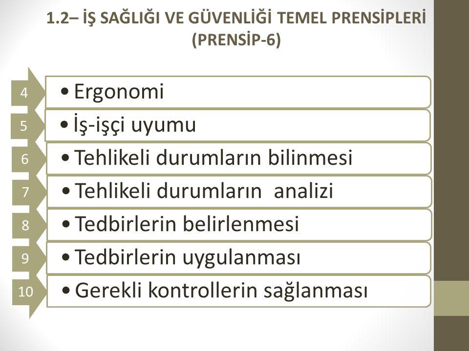 1.2– İŞ SAĞLIĞI VE GÜVENLİĞİ TEMEL PRENSİPLERİ (PRENSİP-6)