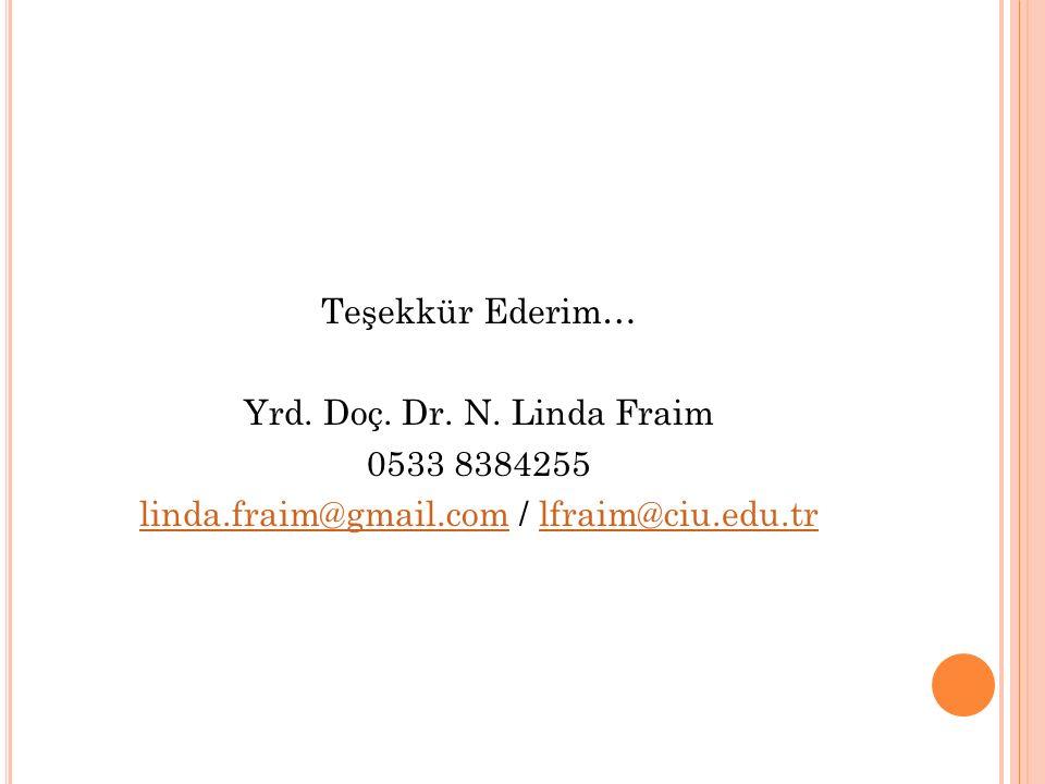 Teşekkür Ederim… Yrd. Doç. Dr. N. Linda Fraim 0533 8384255 linda