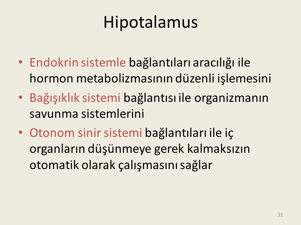 Hipotalamus Endokrin sistemle bağlantıları aracılığı ile hormon metabolizmasının düzenli işlemesini.