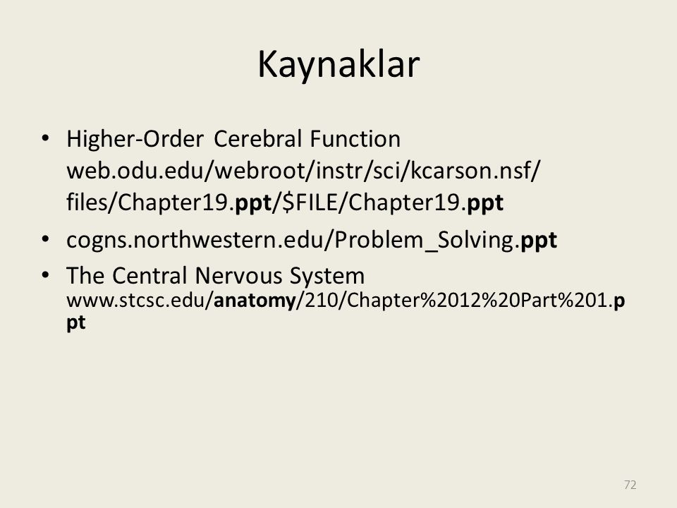 Kaynaklar Higher-Order Cerebral Function web.odu.edu/webroot/instr/sci/kcarson.nsf/ files/Chapter19.ppt/$FILE/Chapter19.ppt.
