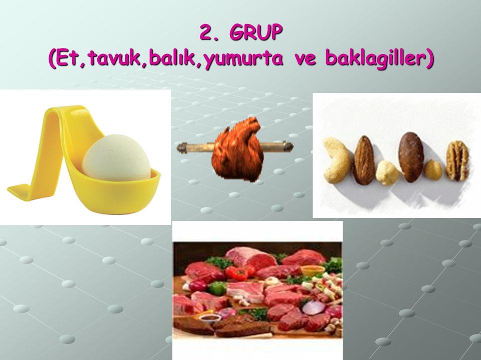2. GRUP (Et,tavuk,balık,yumurta ve baklagiller)