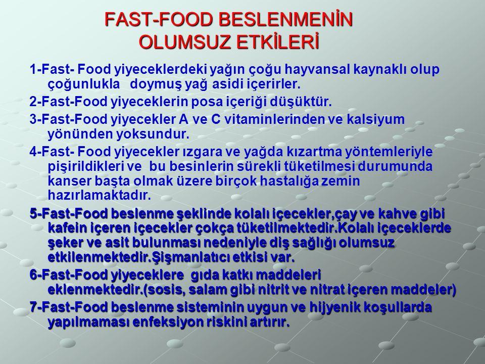 FAST-FOOD BESLENMENİN OLUMSUZ ETKİLERİ