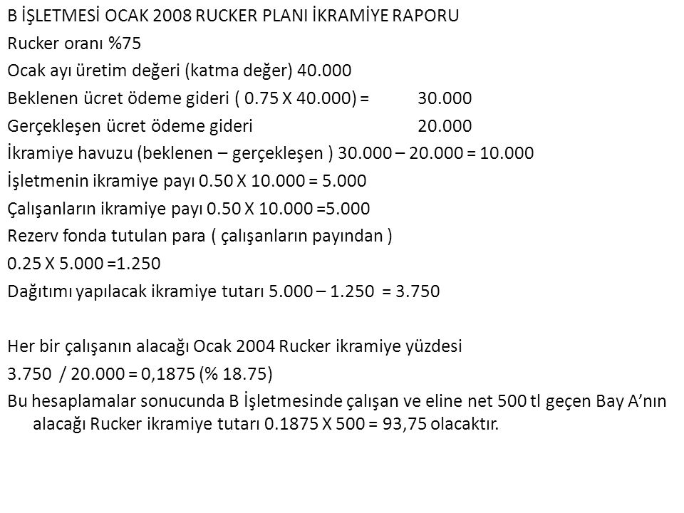 B İŞLETMESİ OCAK 2008 RUCKER PLANI İKRAMİYE RAPORU