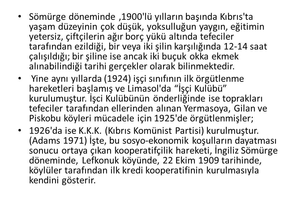 Sömürge döneminde ,1900 lü yılların başında Kıbrıs ta yaşam düzeyinin çok düşük, yoksulluğun yaygın, eğitimin yetersiz, çiftçilerin ağır borç yükü altında tefeciler tarafından ezildiği, bir veya iki şilin karşılığında 12-14 saat çalışıldığı; bir şiline ise ancak iki buçuk okka ekmek alınabilindiği tarihi gerçekler olarak bilinmektedir.