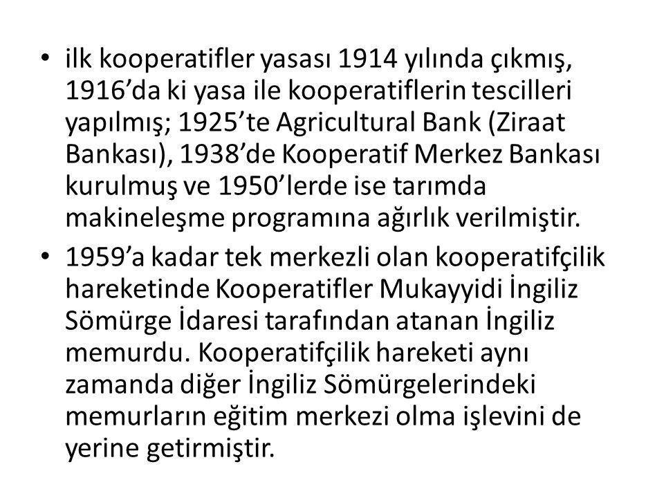 ilk kooperatifler yasası 1914 yılında çıkmış, 1916'da ki yasa ile kooperatiflerin tescilleri yapılmış; 1925'te Agricultural Bank (Ziraat Bankası), 1938'de Kooperatif Merkez Bankası kurulmuş ve 1950'lerde ise tarımda makineleşme programına ağırlık verilmiştir.