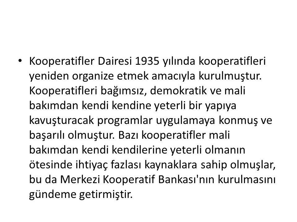 Kooperatifler Dairesi 1935 yılında kooperatifleri yeniden organize etmek amacıyla kurulmuştur.