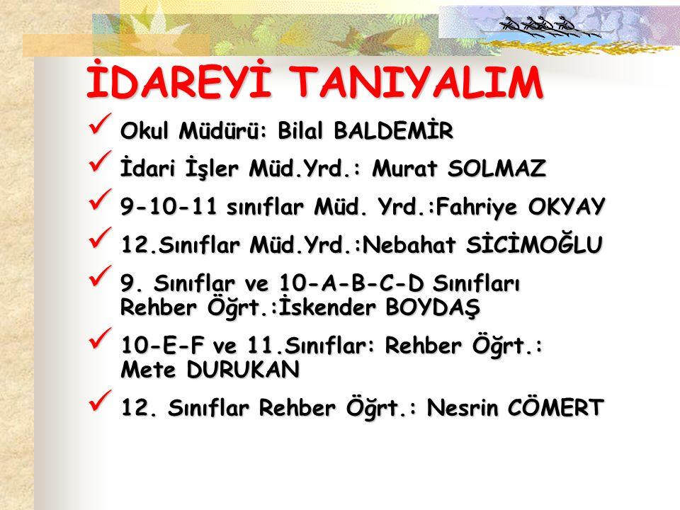 İDAREYİ TANIYALIM Okul Müdürü: Bilal BALDEMİR