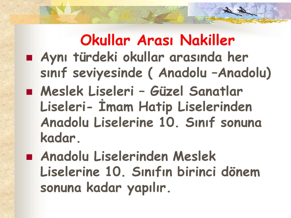 Okullar Arası Nakiller