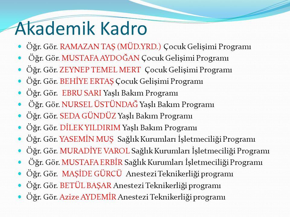 Akademik Kadro Öğr. Gör. RAMAZAN TAŞ (MÜD.YRD.) Çocuk Gelişimi Programı. Öğr. Gör. MUSTAFA AYDOĞAN Çocuk Gelişimi Programı.