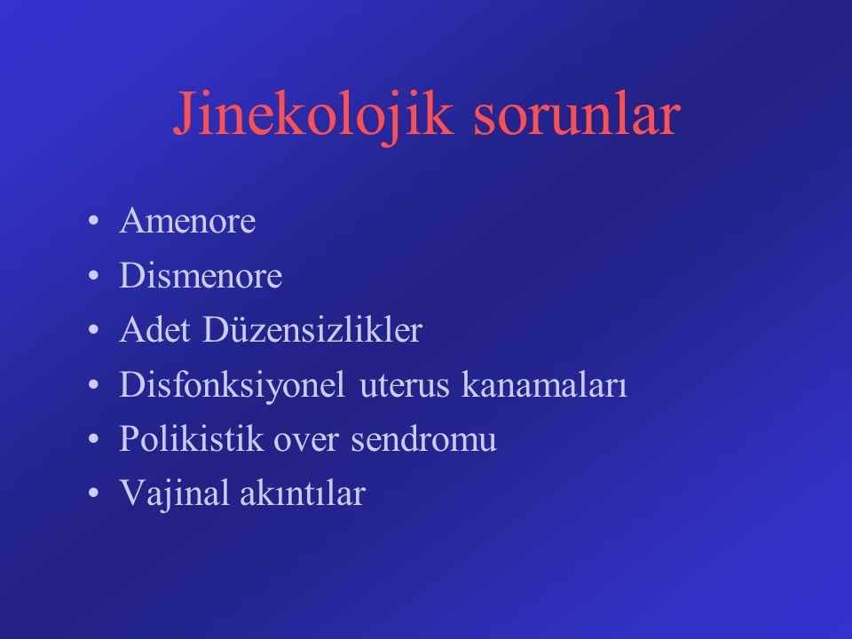 Jinekolojik sorunlar Amenore Dismenore Adet Düzensizlikler