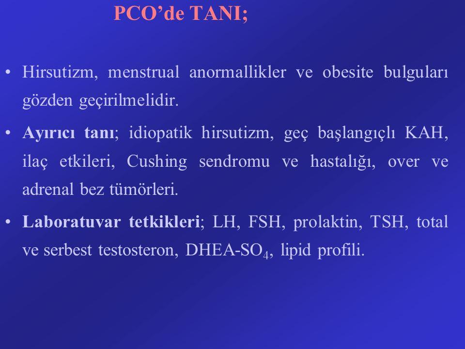 PCO'de TANI; Hirsutizm, menstrual anormallikler ve obesite bulguları gözden geçirilmelidir.