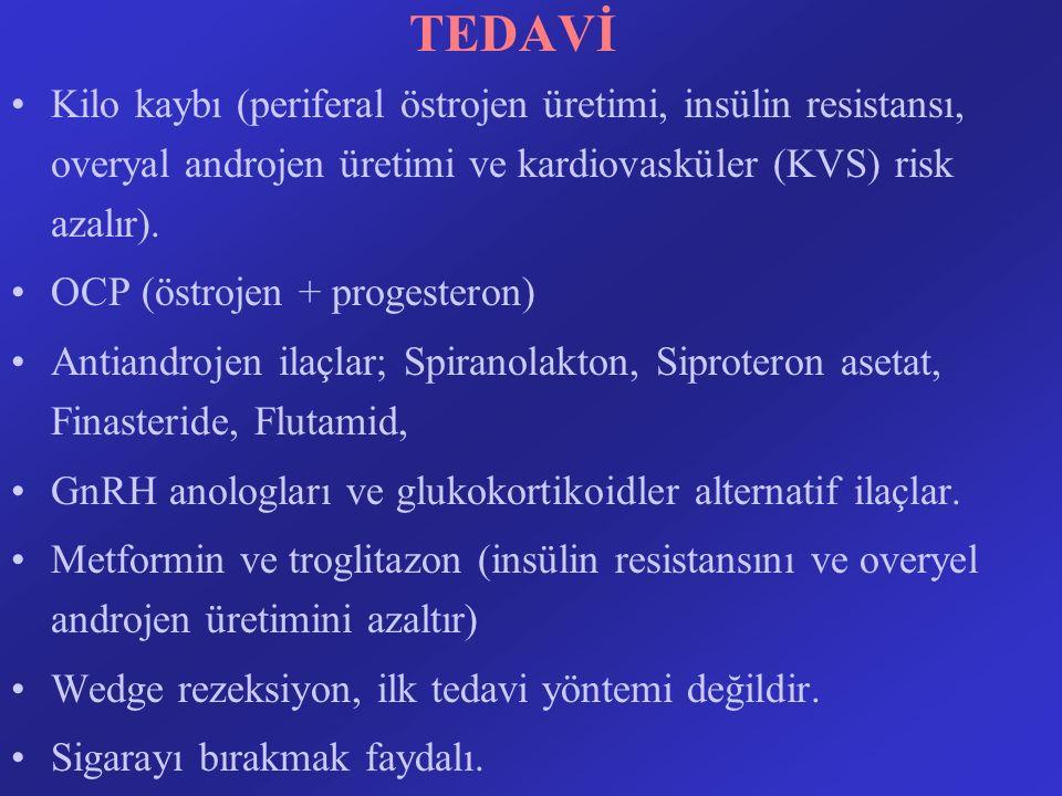 TEDAVİ Kilo kaybı (periferal östrojen üretimi, insülin resistansı, overyal androjen üretimi ve kardiovasküler (KVS) risk azalır).