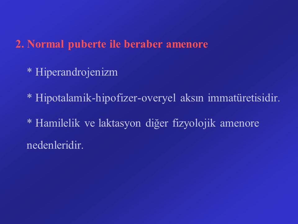 2. Normal puberte ile beraber amenore