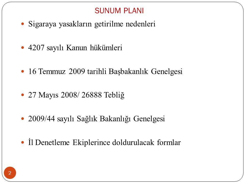 SUNUM PLANI Sigaraya yasakların getirilme nedenleri. 4207 sayılı Kanun hükümleri. 16 Temmuz 2009 tarihli Başbakanlık Genelgesi.