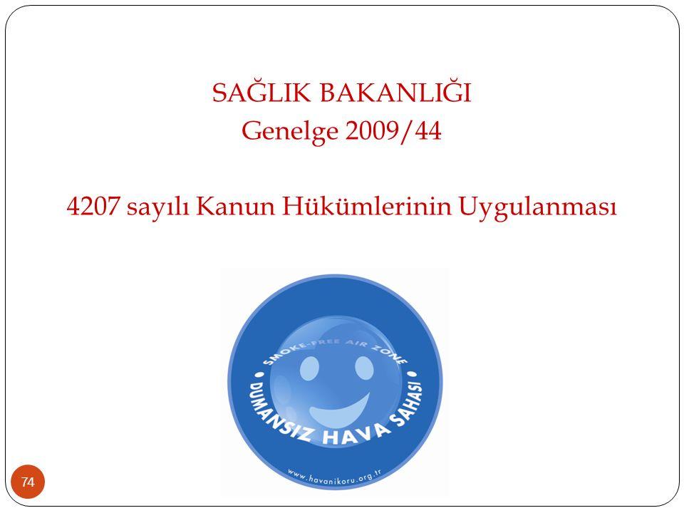 SAĞLIK BAKANLIĞI Genelge 2009/44 4207 sayılı Kanun Hükümlerinin Uygulanması