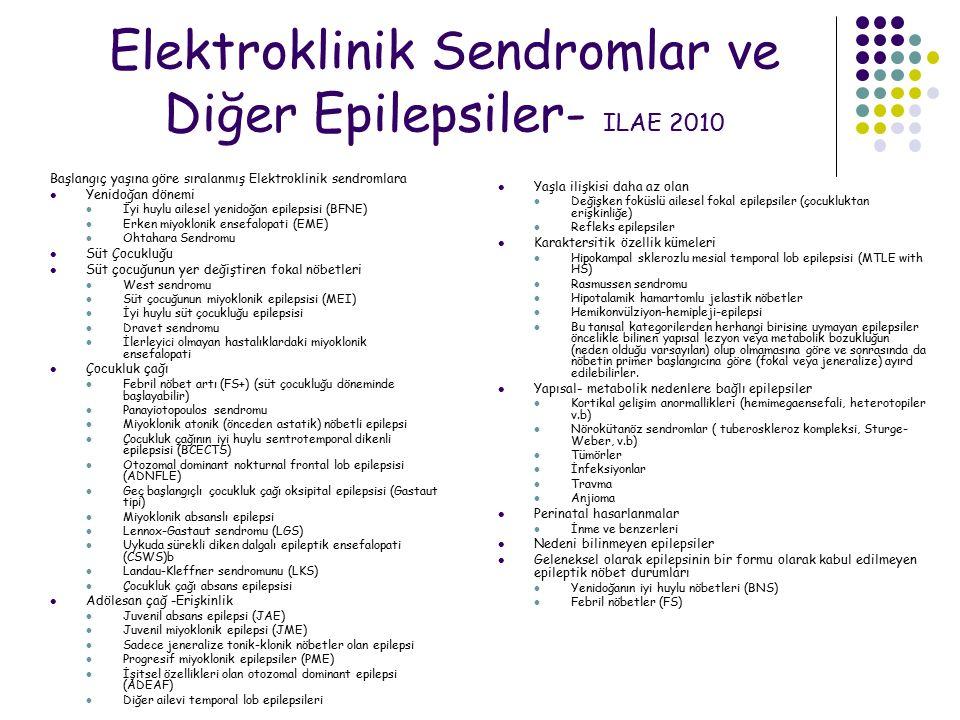 Elektroklinik Sendromlar ve Diğer Epilepsiler- ILAE 2010