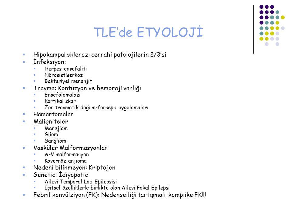 TLE'de ETYOLOJİ Hipokampal skleroz: cerrahi patolojilerin 2/3'si