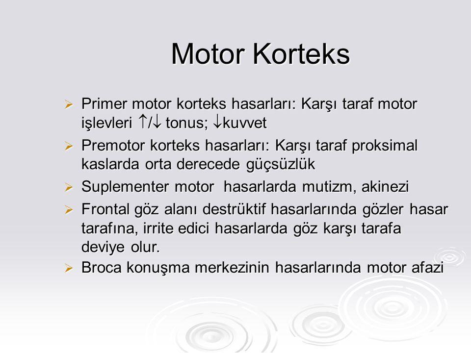 Motor Korteks Primer motor korteks hasarları: Karşı taraf motor işlevleri / tonus; kuvvet.