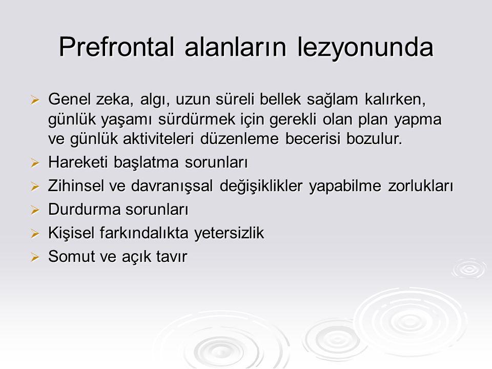 Prefrontal alanların lezyonunda