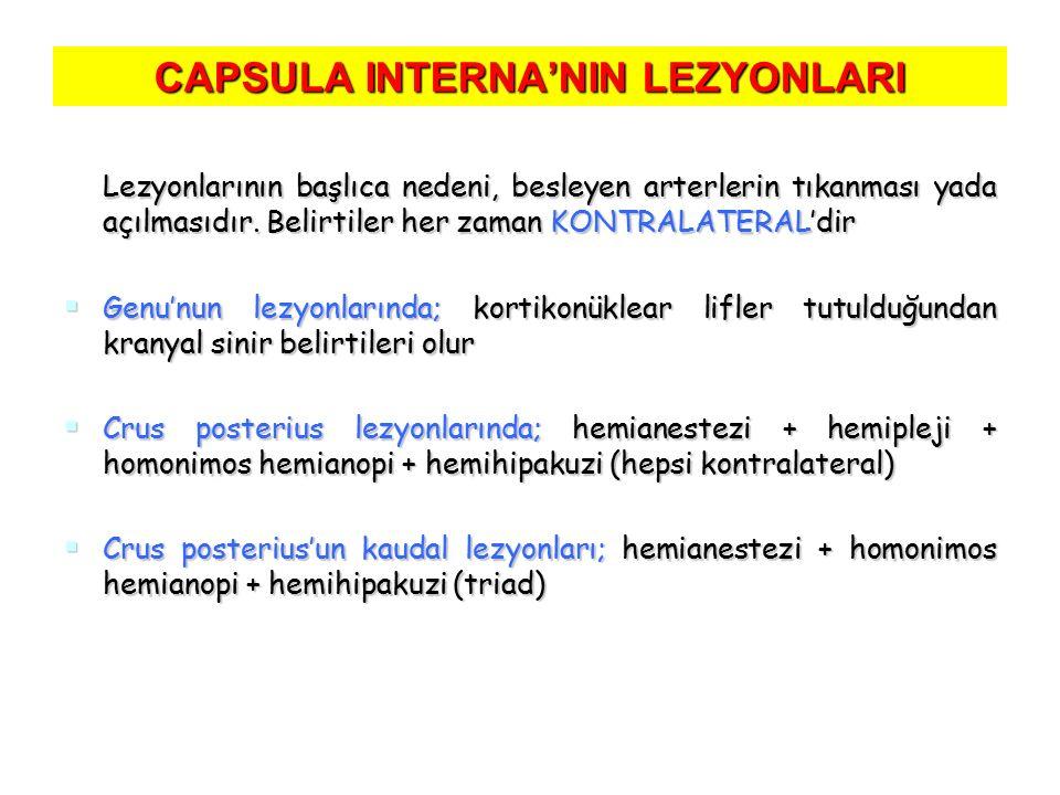 CAPSULA INTERNA'NIN LEZYONLARI