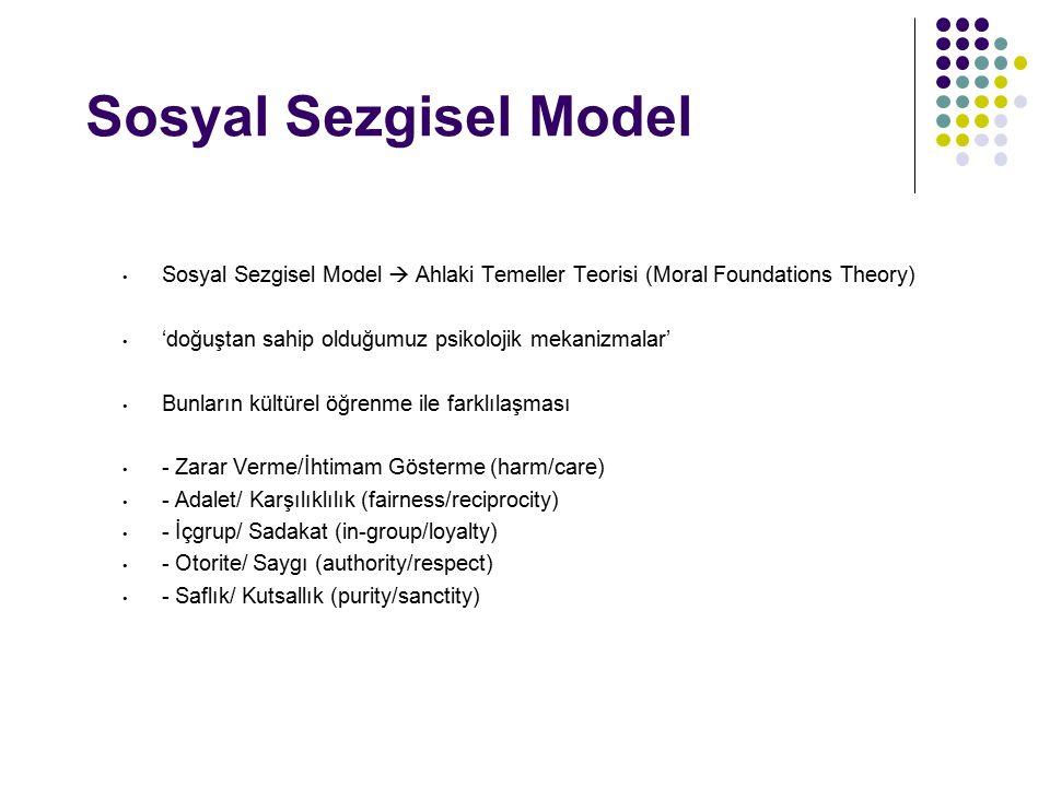 Sosyal Sezgisel Model Sosyal Sezgisel Model  Ahlaki Temeller Teorisi (Moral Foundations Theory) 'doğuştan sahip olduğumuz psikolojik mekanizmalar'
