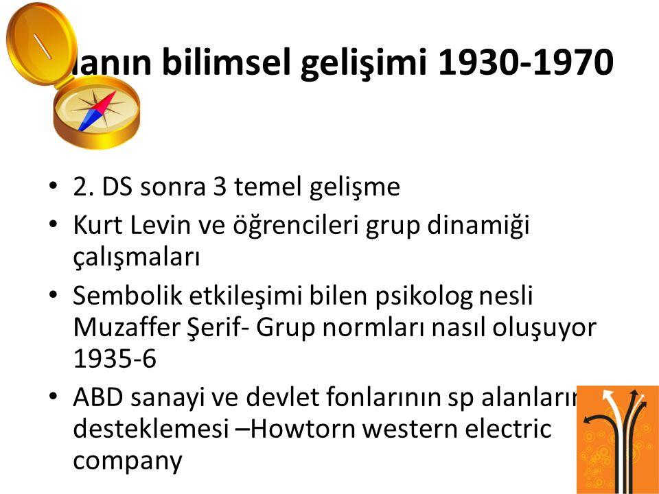 Alanın bilimsel gelişimi 1930-1970