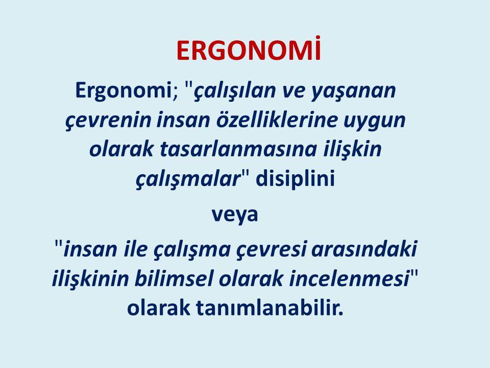 ERGONOMİ Ergonomi; çalışılan ve yaşanan çevrenin insan özelliklerine uygun olarak tasarlanmasına ilişkin çalışmalar disiplini.