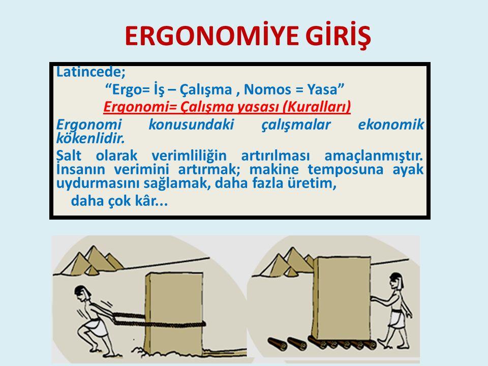 ERGONOMİYE GİRİŞ Latincede; Ergo= İş – Çalışma , Nomos = Yasa